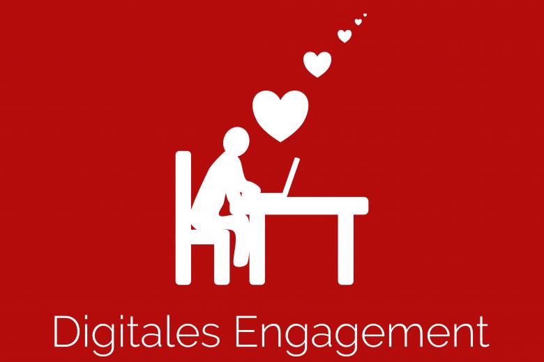 """Person sitzt am Laptop, von ihr und dem Laptop fliegen Herzen weg, und darunter der Schriftzug """"Digitales Engagement"""""""