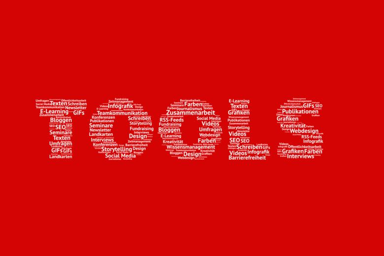 Tools-Schriftzug, der aus kleinen Schriften besteht, die die unterschiedlichen Tools-Bereiche abdecken