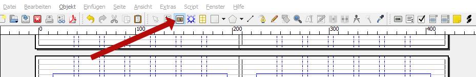 Zu sehen ist im Bild die Menüleiste von Scribus. Ein roter Pfeil zeigt auf das Symbol, welches du anklicken musst, um einen Bildrahmen aufzuziehen.