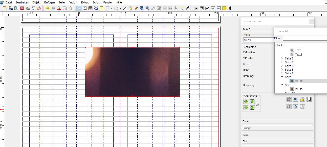 Der Screenshot zeigt den Bildrahmen mit dem Bild, von dem allerdings nur ein Ausschnitt zu sehen ist.