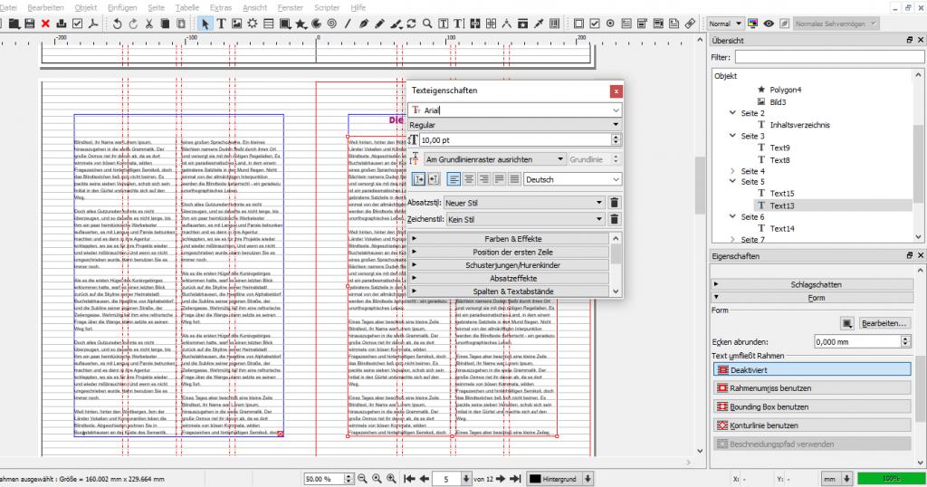"""In diesem Screenshot findet sich das Fenster """"Texteigenschaften"""" auf dem Dokument, nicht rechts an der Seite."""