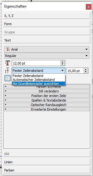 """Der Screenshot zeigt, wie du Text am Grundlinienraster ausrichtest. Dafür musst du unter """"Text"""" in der Eigenschaftenpalette statt """"fester Zeilenabstand"""" """"Am Grundlinienraser ausrichten"""" einstellen."""