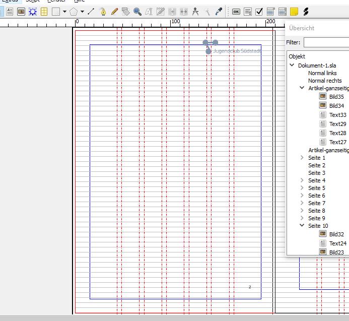 In diesem Screenshot sind die Elemente zu sehen, die auf allen linken Seiten zu sehen sind. Diese sind: Ein Logo und eine Seitenzahl.