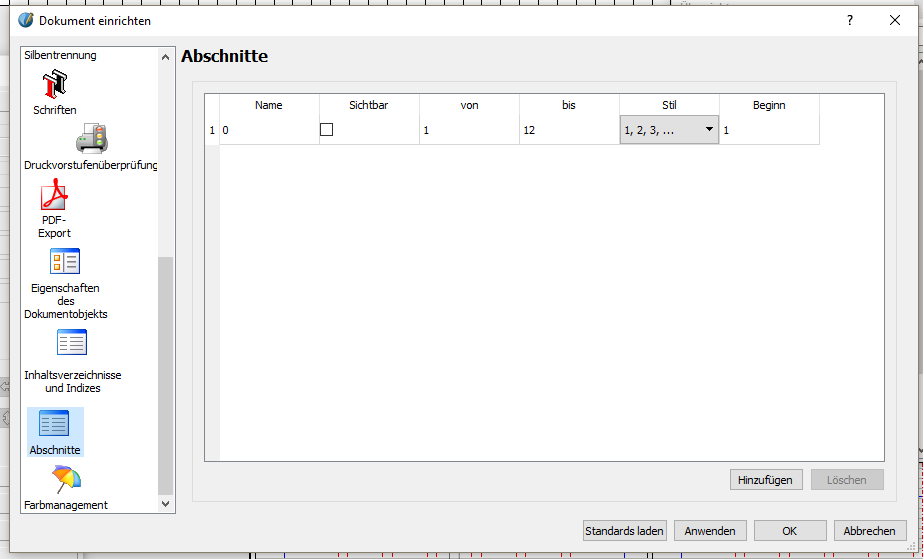 """Klicke im Menü auf """"Datei"""" und dann auf """"Dokument einrichten"""". In dem Fenster, welches sich öffnet, scrolle links herunter und wähle """"Abschnitte""""."""