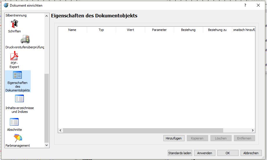"""Dann gehst du auf """"Datei"""" -> """"Dokument einrichten"""". Im Fenster, das sich öffnet, scrolle links herunter und gehe auf """"Eigenschaften des Dokumentobjekts""""."""