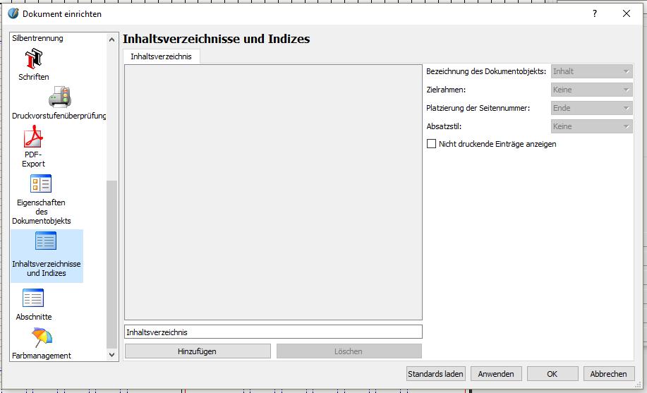 """Nun gehst du unterhalb von """"Eigenschaften des Dokumentobjekts"""" auf """"Inhaltsverzeichnisse und Indizes"""". (In Version 1.5.3 heißt es """"Inhaltsverzeichnisse"""".)"""