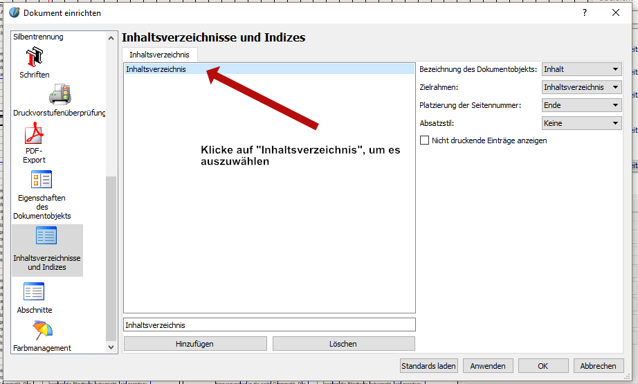 """Klicke im rechten Fenster auf """"Inhaltsverzeichnis"""" um es auszuwählen."""