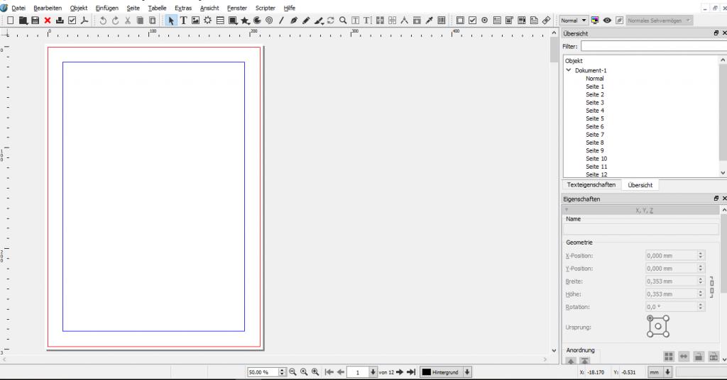 Zu sehen ist die Benutzeroberfläche von Scribus, ein Dokument, der Bereich des Anschnitts und des Rands