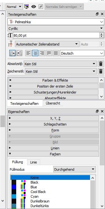 """In der Palette """"Eigenschaften"""" klickst du auf """"Farben""""."""