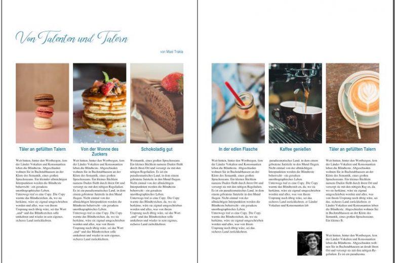 Beispielmagazinseite mit kleinen Bildern von Essen, darunter Beispieltext, einer Überschrift und einem Bild des Autoren