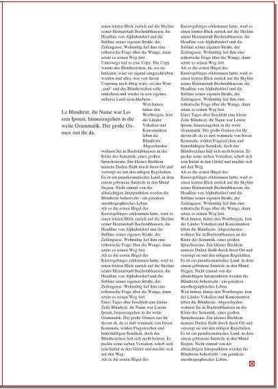 Auf dieser Seite des Magazins steht rechts in zwei Spalten der Fließtext. Links steht ein Zitat, das schlicht in schwarz gedruckt ist. Es ragt zur Hälfte in die linke Spalte des Fließtextes, der an dieser Stelle nur eine halbe Spalte breit fließt.
