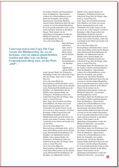 Auf dieser Seite des Magazins steht rechts in zwei Spalten der Fließtext. Links steht ein Zitat, das schlicht in dunkelblau gedruckt ist. Es ragt zur Hälfte in die linke Spalte des Fließtextes, der an dieser Stelle nur eine halbe Spalte breit fließt.
