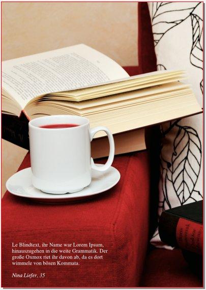 Diese Magazinseite ist voll mit einem Bild von einem Buch und einer Kaffeetasse auf einer Sesselarmlehne bedeckt. Links unten steht in weißer Schrift vor dem Hintergrund des roten Sessels das Zitat.