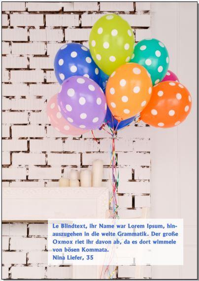 Diese Magazinseite ist bedeckt mit einem Bild bunter Luftballons. Davor steht ein halb transparentes weißes Rechteck, in dem in dunkelblauer Schrift das Zitat steht.