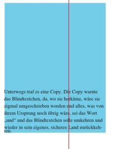 In diesem Screenshot ist zu sehen, dass der Text an den Seiten des hellblauen Rechtecks direkt dranklebt. Es ist kein Abstand zwischen Text und Rechteckrahmen vorhanden.