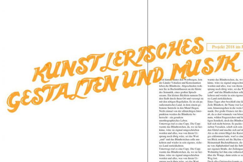 """große orangene Überschrift """"Künstlerisches Gestalten und Musik"""", quer über eine Magazin-Doppelseite"""
