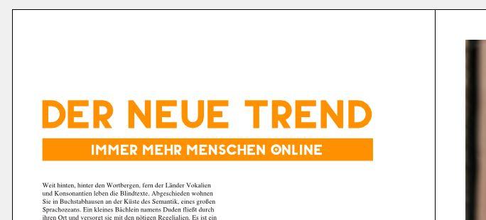 Große orangene Headline mit Leadtext darunter. Leadtext ist in weiß, mit einem orangenen Rechteck hinterlegt