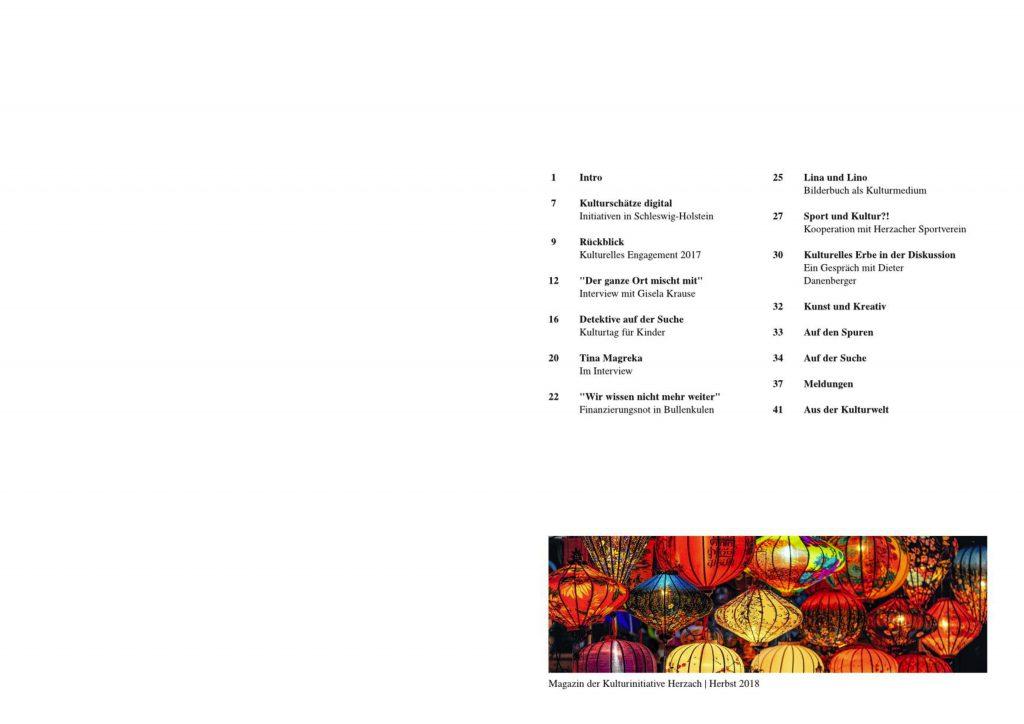 Schlichtes Inhaltsverzeichnis auf der rechten Seite, die linke Seite ist weiß. Das Inhaltsverzeichnis besteht aus kurzen Titeln und Untertiteln und Seitenzahlen. Ganz unten ein einziges buntes Bild mit Lampionen.