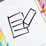 Notizbuch mit Icon Zettel und Stift