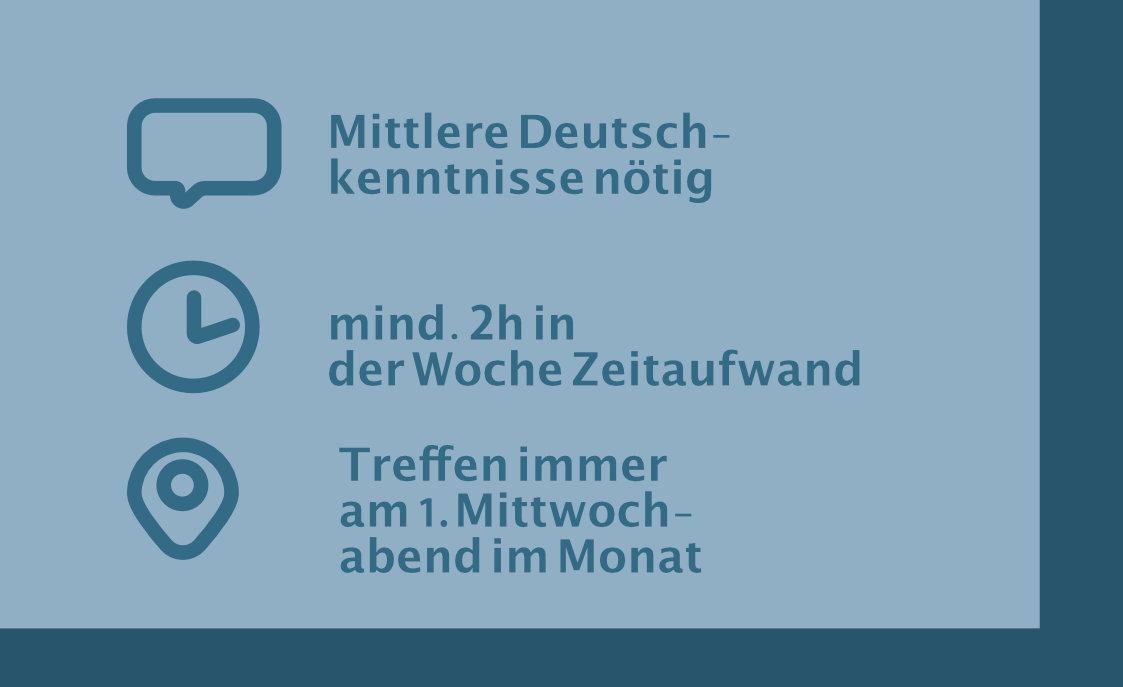 Voraussetzungen an den Ehrenamtlichen im Rollenprofil: z. B. mittlere Deutschkenntniss, mind. 2h Zeit in der Woche und Treffen immer am 1. Mittwoch im Monat