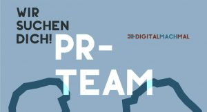 """""""Wir suchen dich! PR-Team""""-Schriftzug"""