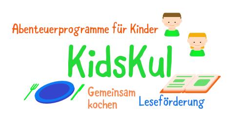 Kidskul: Bunte Icons, mit vielen Details. Zwei Kinder, ein Teller mit Besteck und ein Buch. Dazu kurze Texte.