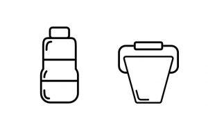 Line Icons Flasche und Eimer