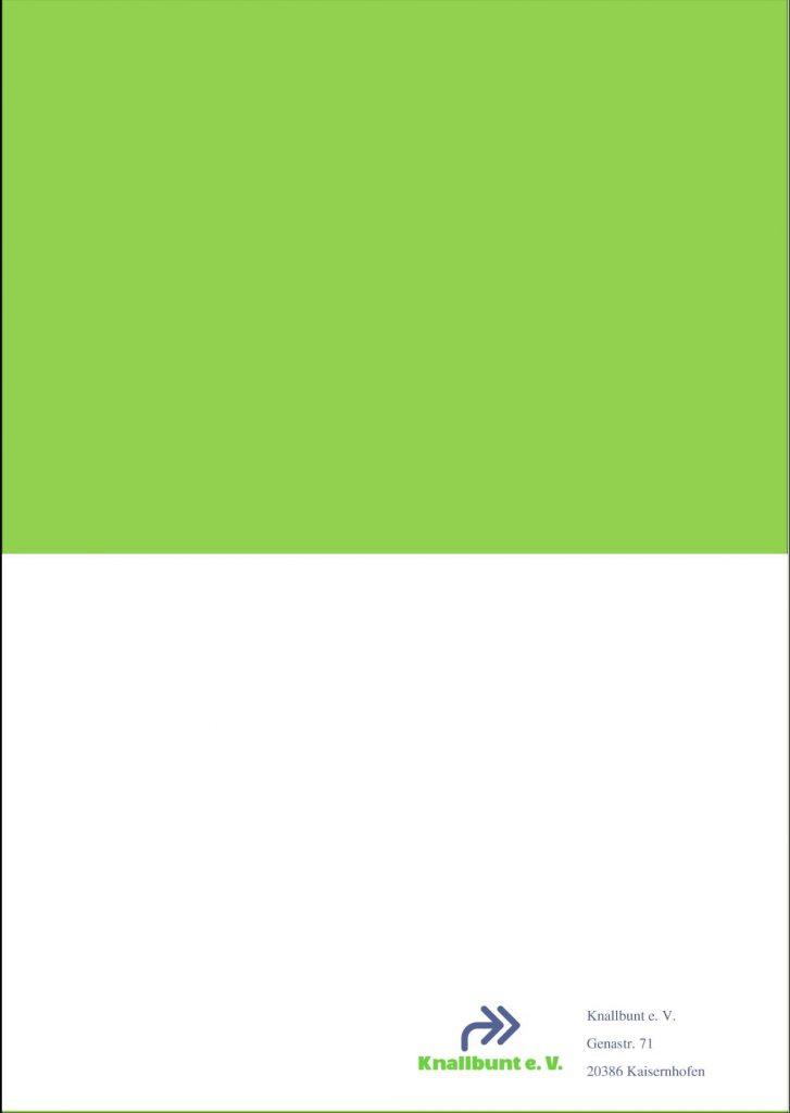 Rückseite eines Magazins: obere Hälfte grün, unten Logo und Adresse