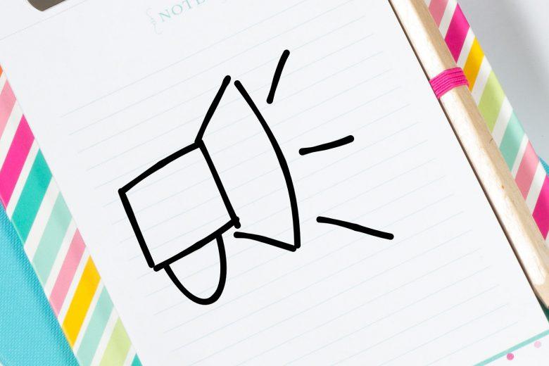 Notizbuch mit Megafon